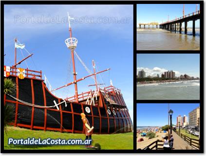 Santa Teresita en imágenes. Carabela - Muelle - Ciudad y Pasarela.Carabela Santa María.