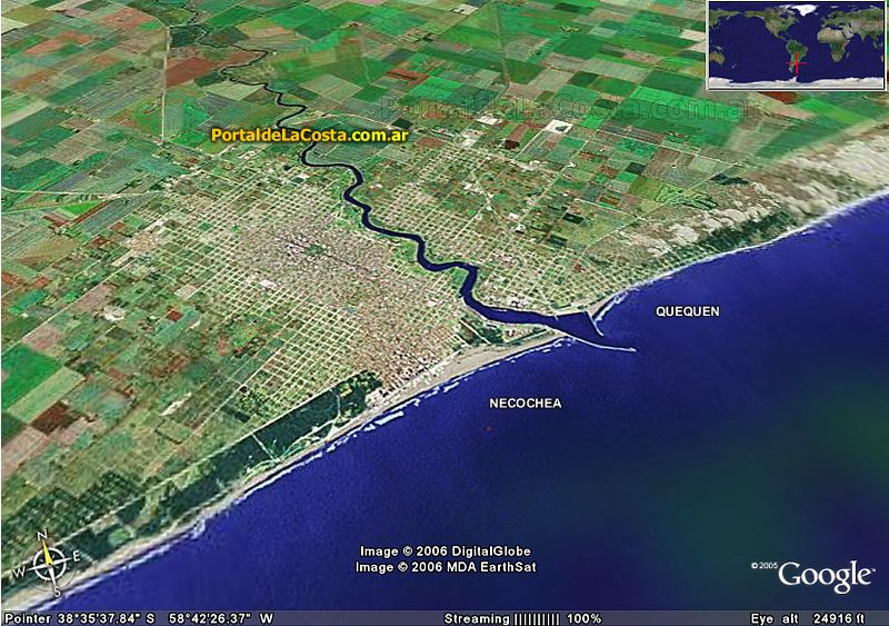 Imágen satelital Necochea - Google Maps