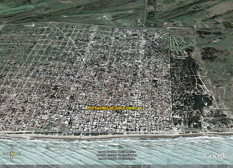 Imágen satelital Santa Teresita - Google Maps.